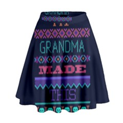 My Grandma Made This Ugly Holiday Blue Background High Waist Skirt by Onesevenart