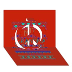 My Grandma Made This Ugly Holiday Red Background Peace Sign 3d Greeting Card (7x5) by Onesevenart