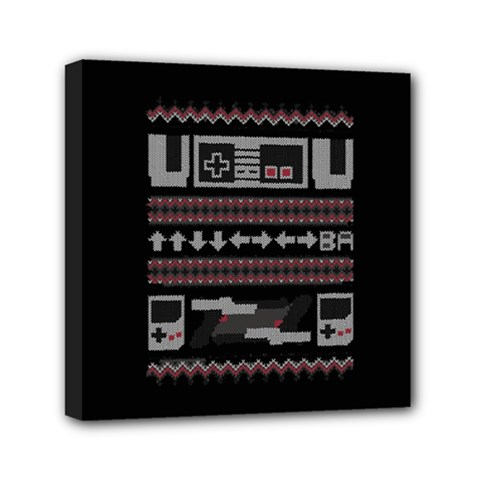 Old School Ugly Holiday Christmas Black Background Mini Canvas 6  X 6  by Onesevenart