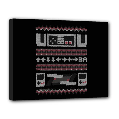 Old School Ugly Holiday Christmas Black Background Canvas 14  X 11  by Onesevenart