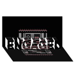 Old School Ugly Holiday Christmas Black Background Engaged 3d Greeting Card (8x4) by Onesevenart