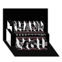 Old School Ugly Holiday Christmas Black Background Thank You 3d Greeting Card (7x5) by Onesevenart