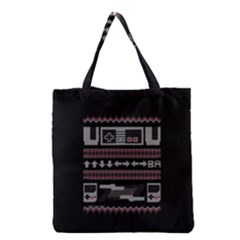 Old School Ugly Holiday Christmas Black Background Grocery Tote Bag by Onesevenart