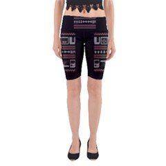 Old School Ugly Holiday Christmas Black Background Yoga Cropped Leggings by Onesevenart
