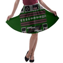 Old School Ugly Holiday Christmas Green Background A Line Skater Skirt by Onesevenart