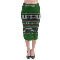 Old School Ugly Holiday Christmas Green Background Midi Pencil Skirt by Onesevenart