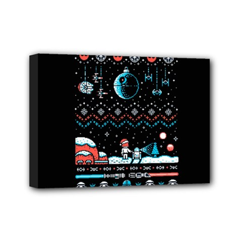That Snow Moon Star Wars  Ugly Holiday Christmas Black Background Mini Canvas 7  X 5  by Onesevenart