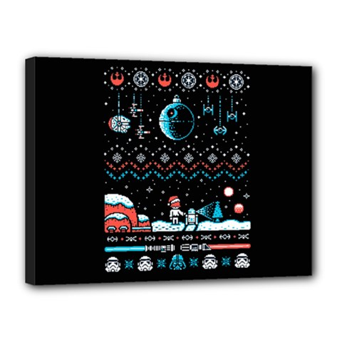 That Snow Moon Star Wars  Ugly Holiday Christmas Black Background Canvas 16  X 12  by Onesevenart