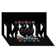 That Snow Moon Star Wars  Ugly Holiday Christmas Black Background Mom 3d Greeting Card (8x4) by Onesevenart