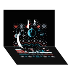 That Snow Moon Star Wars  Ugly Holiday Christmas Black Background Apple 3d Greeting Card (7x5) by Onesevenart