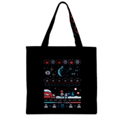 That Snow Moon Star Wars  Ugly Holiday Christmas Black Background Zipper Grocery Tote Bag by Onesevenart