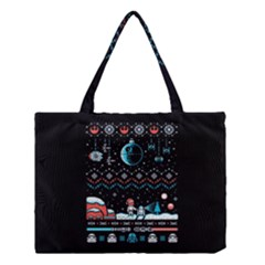 That Snow Moon Star Wars  Ugly Holiday Christmas Black Background Medium Tote Bag by Onesevenart