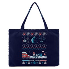 That Snow Moon Star Wars  Ugly Holiday Christmas Blue Background Medium Zipper Tote Bag by Onesevenart