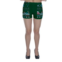 That Snow Moon Star Wars  Ugly Holiday Christmas Green Background Skinny Shorts by Onesevenart