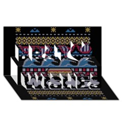 Ugly Summer Ugly Holiday Christmas Black Background Best Wish 3d Greeting Card (8x4) by Onesevenart
