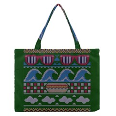 Ugly Summer Ugly Holiday Christmas Green Background Medium Zipper Tote Bag by Onesevenart