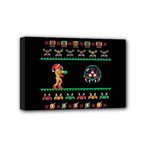 We Wish You A Metroid Christmas Ugly Holiday Christmas Black Background Mini Canvas 6  X 4  by Onesevenart