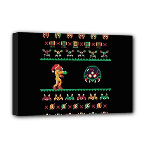 We Wish You A Metroid Christmas Ugly Holiday Christmas Black Background Deluxe Canvas 18  X 12   by Onesevenart