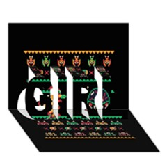 We Wish You A Metroid Christmas Ugly Holiday Christmas Black Background Girl 3d Greeting Card (7x5) by Onesevenart