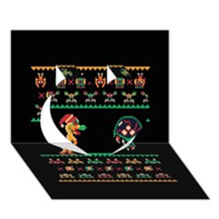 We Wish You A Metroid Christmas Ugly Holiday Christmas Black Background Heart 3d Greeting Card (7x5) by Onesevenart