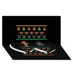 We Wish You A Metroid Christmas Ugly Holiday Christmas Black Background Twin Heart Bottom 3d Greeting Card (8x4) by Onesevenart