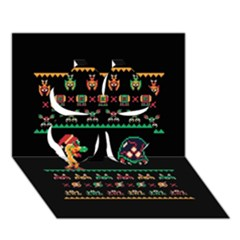 We Wish You A Metroid Christmas Ugly Holiday Christmas Black Background Clover 3d Greeting Card (7x5) by Onesevenart