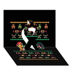 We Wish You A Metroid Christmas Ugly Holiday Christmas Black Background Ribbon 3d Greeting Card (7x5) by Onesevenart