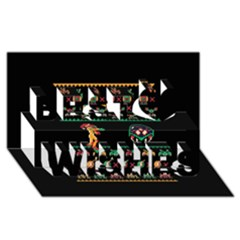 We Wish You A Metroid Christmas Ugly Holiday Christmas Black Background Best Wish 3d Greeting Card (8x4) by Onesevenart