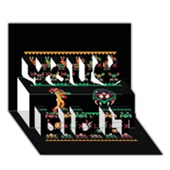 We Wish You A Metroid Christmas Ugly Holiday Christmas Black Background You Did It 3d Greeting Card (7x5) by Onesevenart