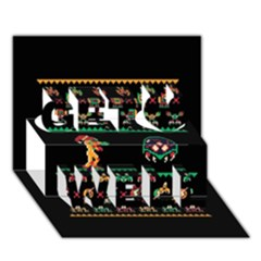 We Wish You A Metroid Christmas Ugly Holiday Christmas Black Background Get Well 3d Greeting Card (7x5) by Onesevenart