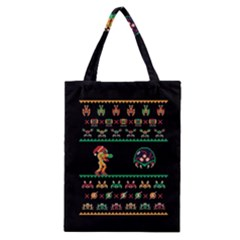 We Wish You A Metroid Christmas Ugly Holiday Christmas Black Background Classic Tote Bag by Onesevenart