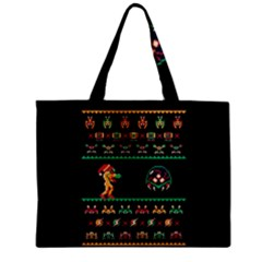 We Wish You A Metroid Christmas Ugly Holiday Christmas Black Background Zipper Mini Tote Bag by Onesevenart