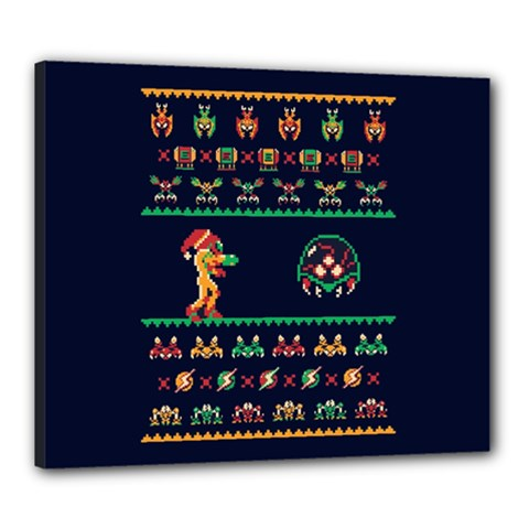 We Wish You A Metroid Christmas Ugly Holiday Christmas Blue Background Canvas 24  x 20  by Onesevenart