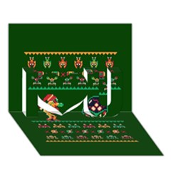 We Wish You A Metroid Christmas Ugly Holiday Christmas Green Background I Love You 3d Greeting Card (7x5) by Onesevenart