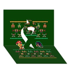 We Wish You A Metroid Christmas Ugly Holiday Christmas Green Background Ribbon 3d Greeting Card (7x5) by Onesevenart