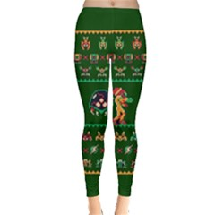 We Wish You A Metroid Christmas Ugly Holiday Christmas Green Background Leggings  by Onesevenart