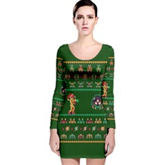 We Wish You A Metroid Christmas Ugly Holiday Christmas Green Background Long Sleeve Velvet Bodycon Dress by Onesevenart