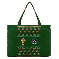 We Wish You A Metroid Christmas Ugly Holiday Christmas Green Background Medium Zipper Tote Bag by Onesevenart