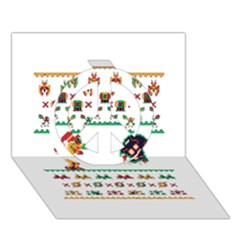 We Wish You A Metroid Christmas Ugly Holiday Christmas Peace Sign 3d Greeting Card (7x5) by Onesevenart