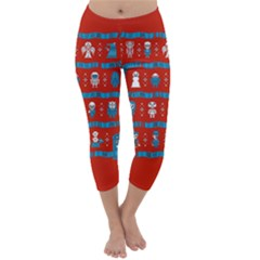 Who Is Outside Ugly Holiday Christmas Red Background Capri Winter Leggings  by Onesevenart