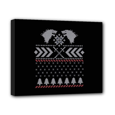 Winter Is Coming Game Of Thrones Ugly Christmas Black Background Canvas 10  X 8  by Onesevenart