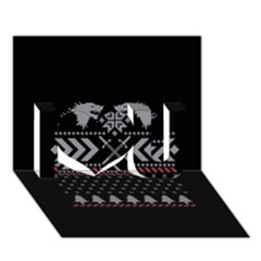 Winter Is Coming Game Of Thrones Ugly Christmas Black Background I Love You 3d Greeting Card (7x5) by Onesevenart