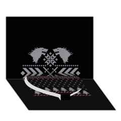 Winter Is Coming Game Of Thrones Ugly Christmas Black Background Heart Bottom 3d Greeting Card (7x5) by Onesevenart