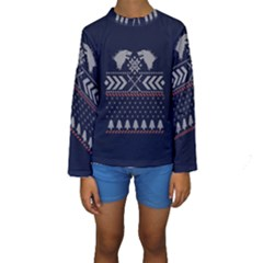 Winter Is Coming Game Of Thrones Ugly Christmas Blue Background Kids  Long Sleeve Swimwear by Onesevenart