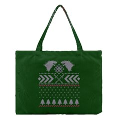 Winter Is Coming Game Of Thrones Ugly Christmas Green Background Medium Tote Bag by Onesevenart