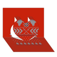 Winter Is Coming Game Of Thrones Ugly Christmas Red Background Heart 3d Greeting Card (7x5) by Onesevenart