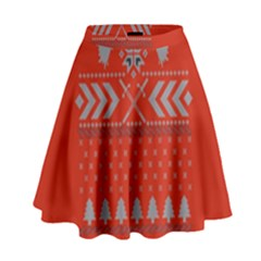 Winter Is Coming Game Of Thrones Ugly Christmas Red Background High Waist Skirt by Onesevenart