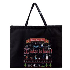 Winter Is Here Ugly Holiday Christmas Black Background Zipper Large Tote Bag by Onesevenart