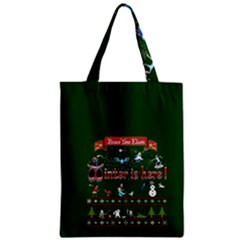 Winter Is Here Ugly Holiday Christmas Green Background Zipper Classic Tote Bag by Onesevenart