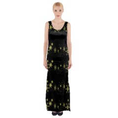 Yellow Elegant Xmas Snowflakes Maxi Thigh Split Dress by Valentinaart